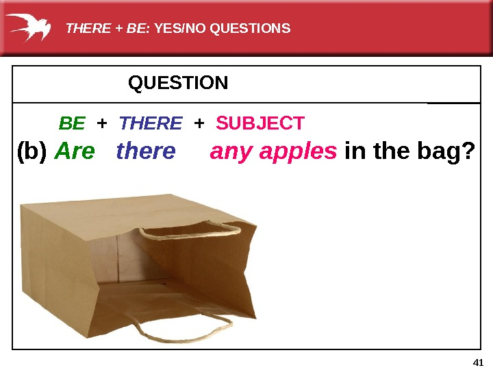 41 QUESTION     (b) Are there  any apples  in the bag?