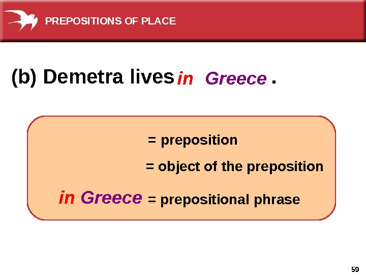 59(b) Demetra lives    . in = preposition Greece = object of the preposition