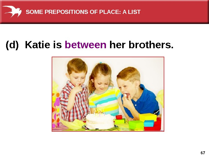 67(d) Katie is between her brothers. SOME PREPOSITIONS OF PLACE: A LIST