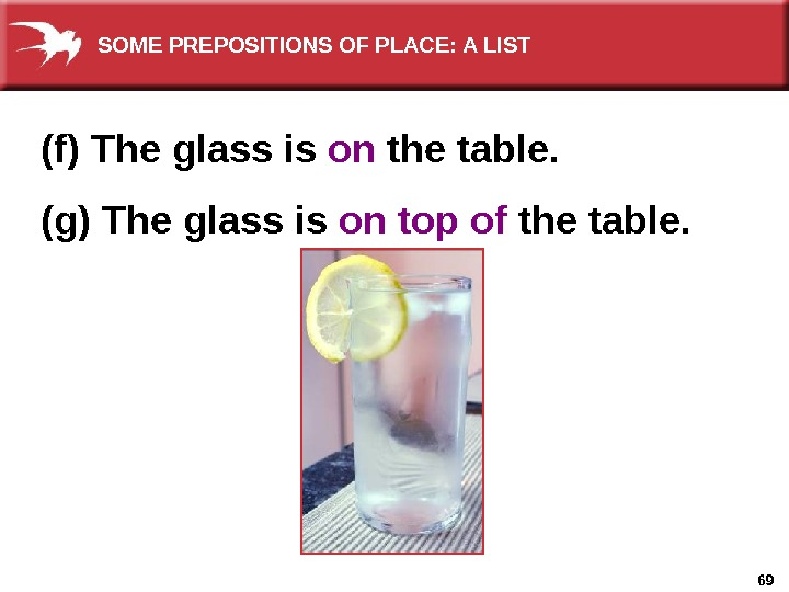 69(f) The glass is on the table. (g) The glass is on top of the table.
