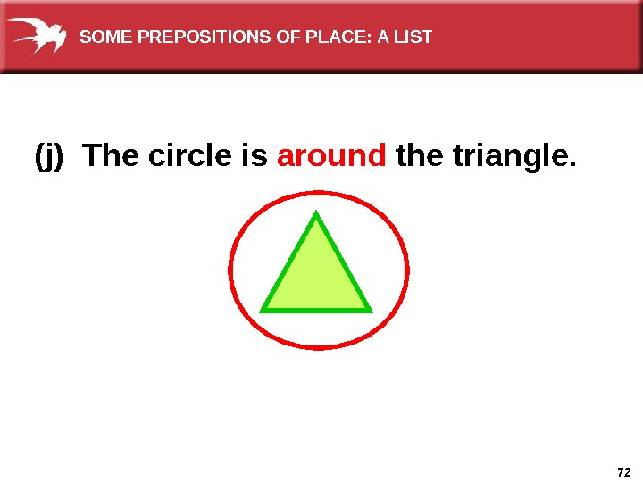 72(j) The circle is around  the triangle. SOME PREPOSITIONS OF PLACE: A LIST