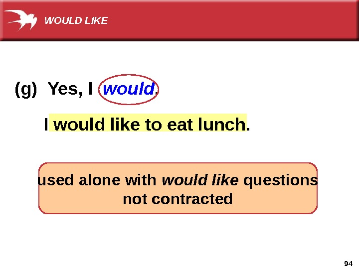 94  I would  like to eat lunch. (g) Yes, I  would. used alone