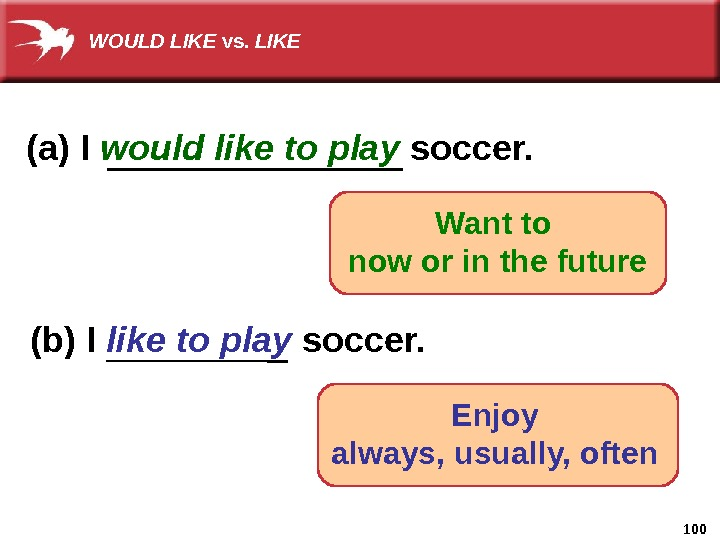 100(a) I would like to play soccer. (b) I like to play soccer. Enjoy always, usually,