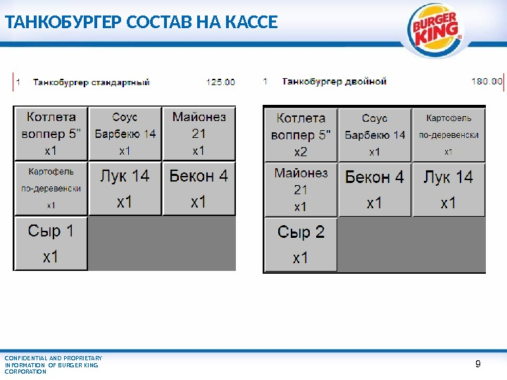 CONFIDENTIAL AND PROPRIETARY INFORMATION OF BURGER KING CORPORATION ТАНКОБУРГЕР СОСТАВ НА КАССЕ 9
