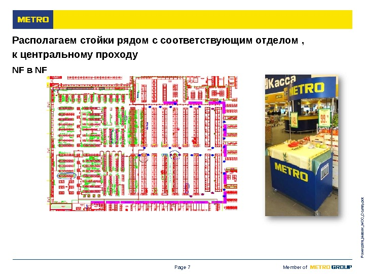 M ETRO Cash & Carry Russia Member of Powerpoint_Master_MCC_Country. pot. Page 7 Располагаем стойки рядом с