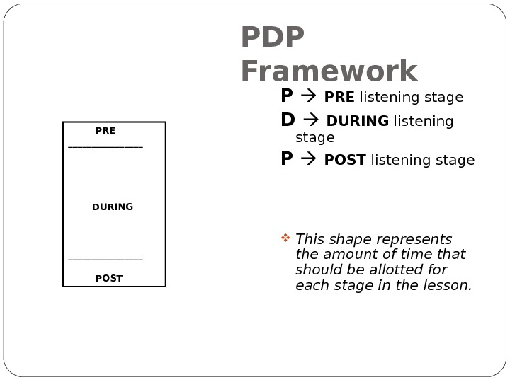 PDP Framework   PRE ________ DURING ________ POST P PRE listening stage D DURING listening