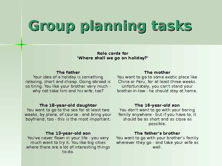 Group planning tasks Role cards for 'Where shall we go on holiday? ' The father Your