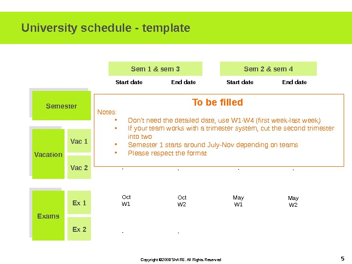Copyright © 2008 Sh. ARE. All Rights Reserved 5 University schedule - template Semester Vacation Exams