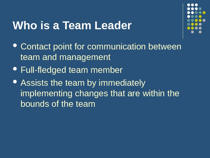 Who is a Team Leader Contact point for communication between team and management Full-fledged team member