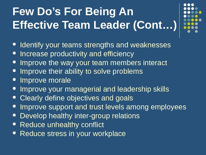 Few Do's For Being An Effective Team Leader (Cont…) Identify your teams strengths and weaknesses