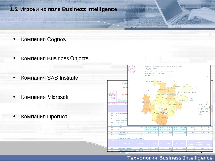 401. 5.  Игрокинаполе  Businessintelligence • Компания Cognos  • Компания Business Objects  •
