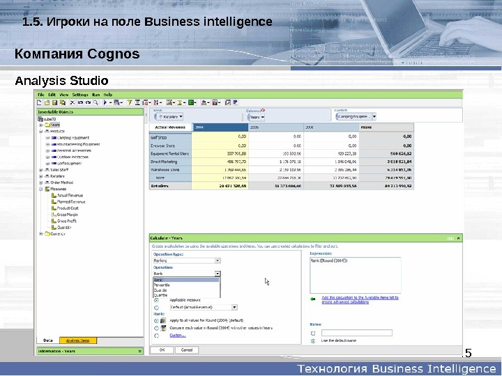 45 Analysis. Studio. Компания. Cognos 1. 5.  Игрокинаполе  Businessintelligence