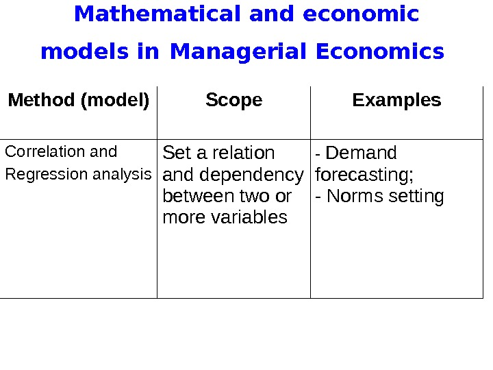 Mathematical and economic models in  Managerial Economics Method (model) Scope Examples Correlation and