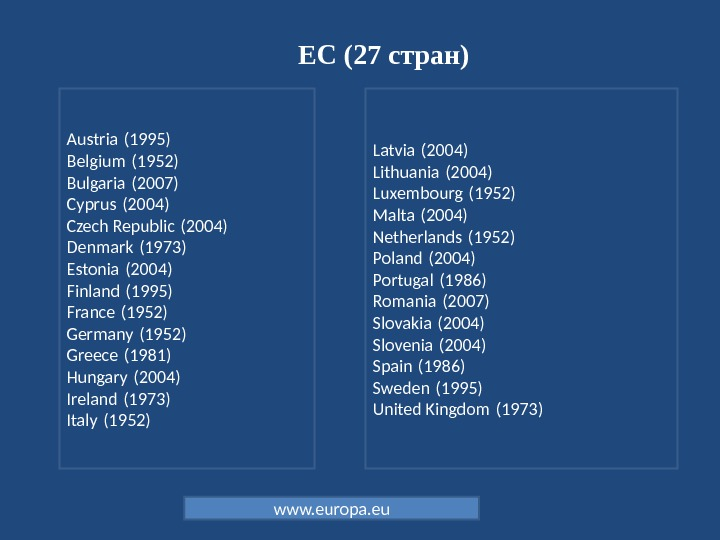 ЕС (27 стран) Latvia (2004) Lithuania (2004) Luxembourg (1952) Malta (2004) Netherlands (1952) Poland (2004) Portugal