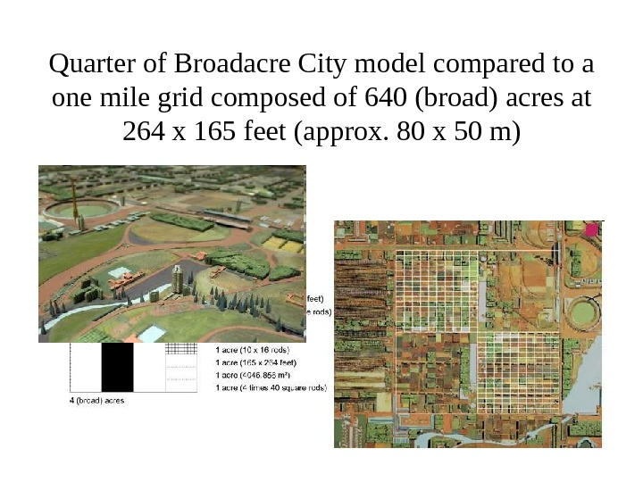 Quarter of Broadacre City model compared to a one mile grid composed of 640 (broad) acres