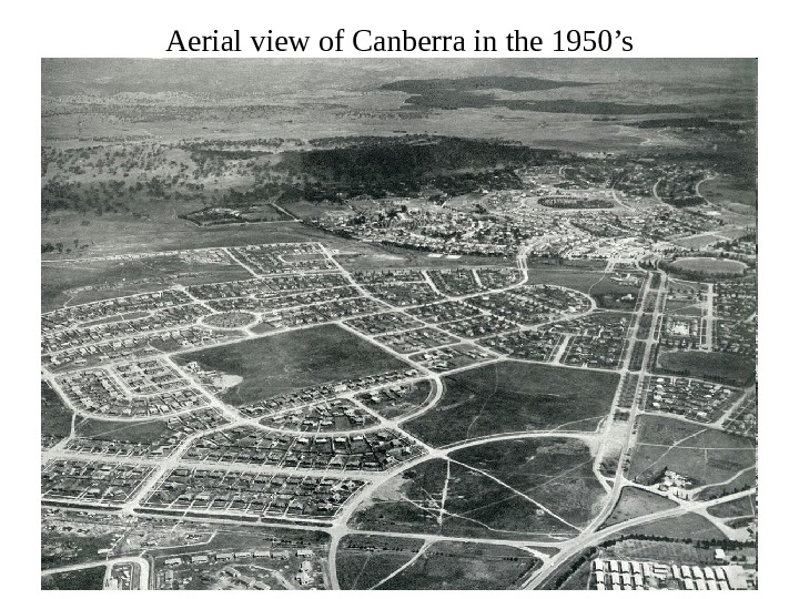 Aerial view of Canberra in the 1950's