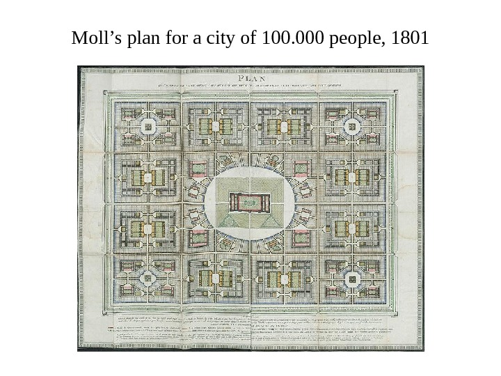 Moll's plan for a city of 100. 000 people, 1801