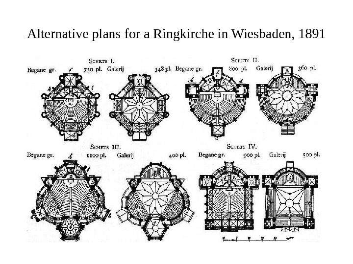 Alternative plans for a Ringkirche in Wiesbaden, 1891