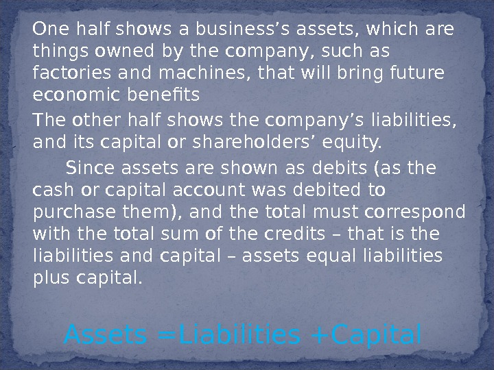 One half shows a business's assets, which are things owned by the company, such as factories