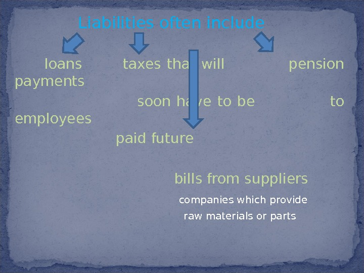 Liabilities  often include     loans   taxes that will