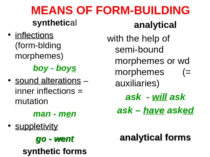 MEANS OF FORM-BUILDING synthetic al • inflections  (form-blding morphemes) boy - boy s •