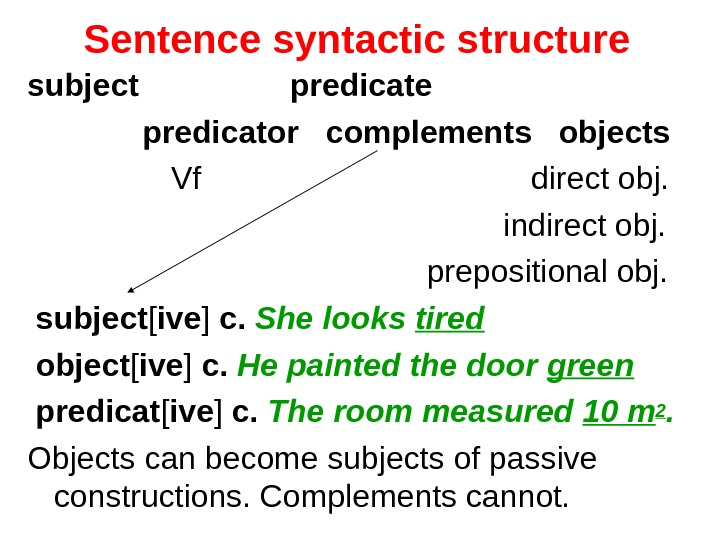 Sentence syntactic structure  subject    predicate    predicator complements  objects