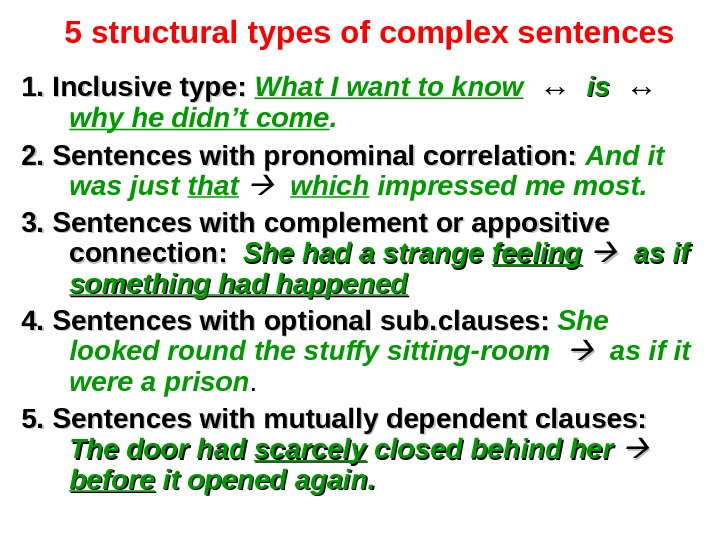 5 structural types of complex sentences 1. Inclusive type: What I want to know  ↔