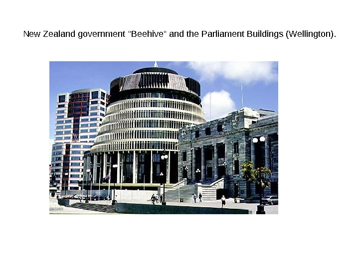 New Zealand government Beehive and the Parliament Buildings (Wellington).