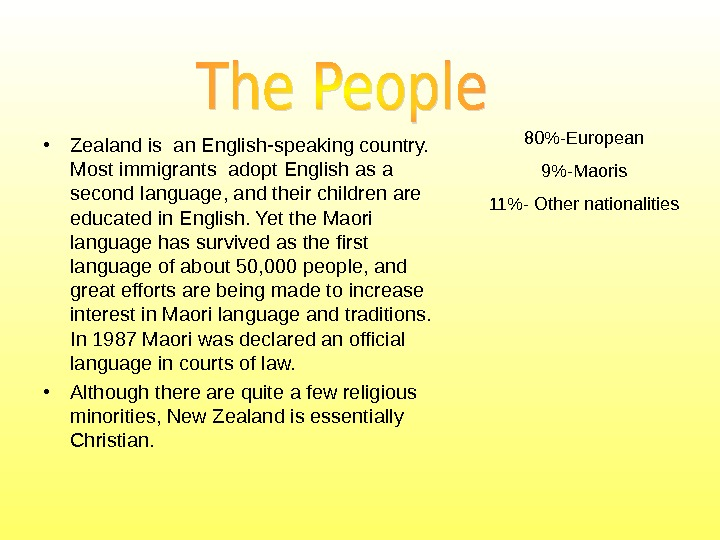 80- European 9-Maoris 11- Other nationalit ies • Zealand is an English-speaking country.