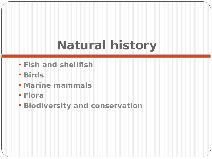 Natural history •  Fish and shellfish •  Birds •  Marine mammals •