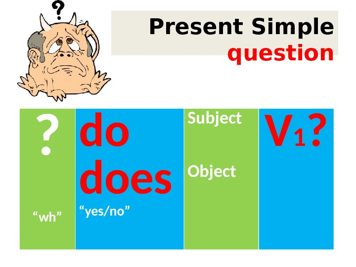 "Present Simple question ? "" wh"" do does "" yes/no"" Subject Object V 1 ?"