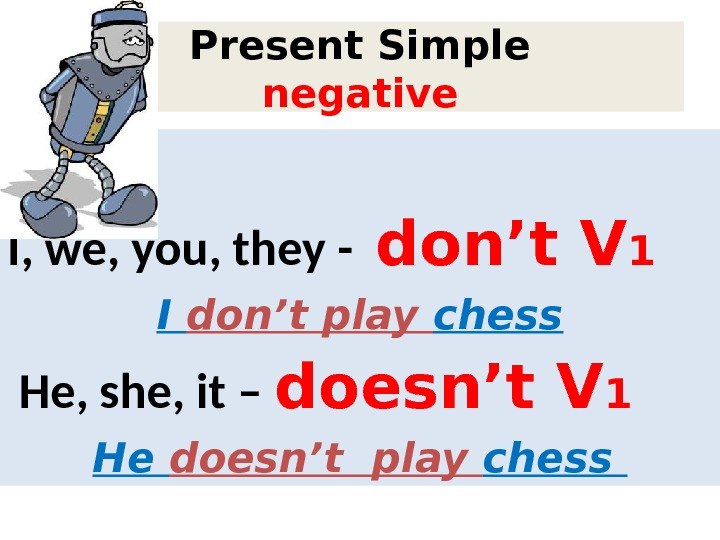 Present Simple negative I, we, you, they  -  don't V 1 I don't play