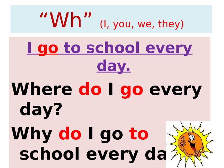 """ Wh"" (I, you, we, they) I go to school every day. Where do I go"