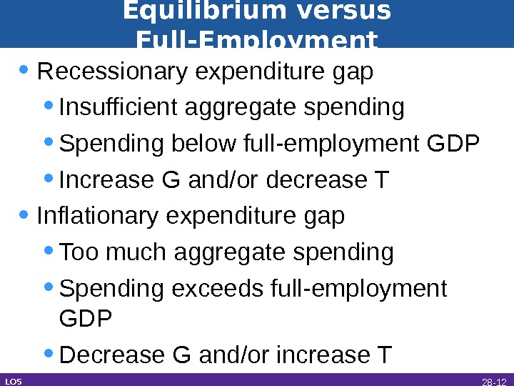 Equilibrium versus Full-Employment • Recessionary expenditure gap • Insufficient aggregate spending • Spending below full-employment GDP