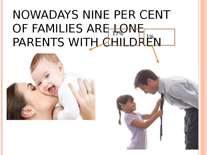 NOWADAYS NINE PER CENT OF FAMILIES ARE LONE PARENTS WITH CHILDREN 17 1