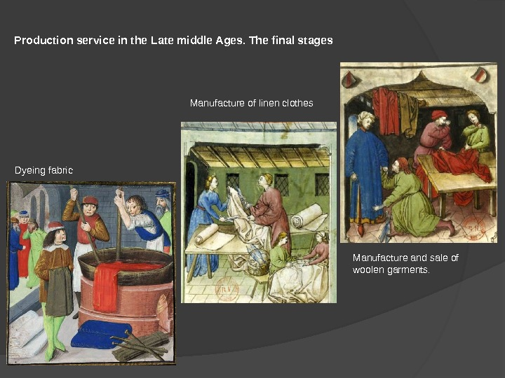 Production service in the Late middle Ages. The final stages Dyeing fabric Manufacture of linen