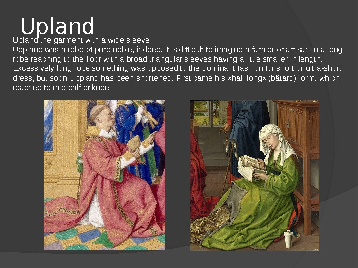 Upland the garment with a wide sleeve Uppland was a robe of pure noble, indeed, it
