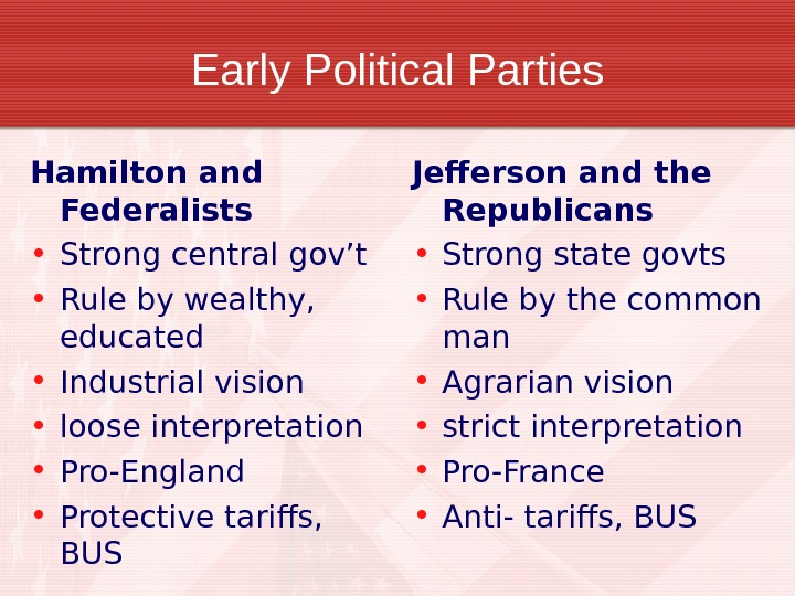 Early Political Parties Hamilton and Federalists • Strong central gov't • Rule by wealthy,  educated