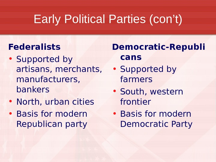 Early Political Parties (con't) Federalists • Supported by artisans, merchants,  manufacturers,  bankers • North,