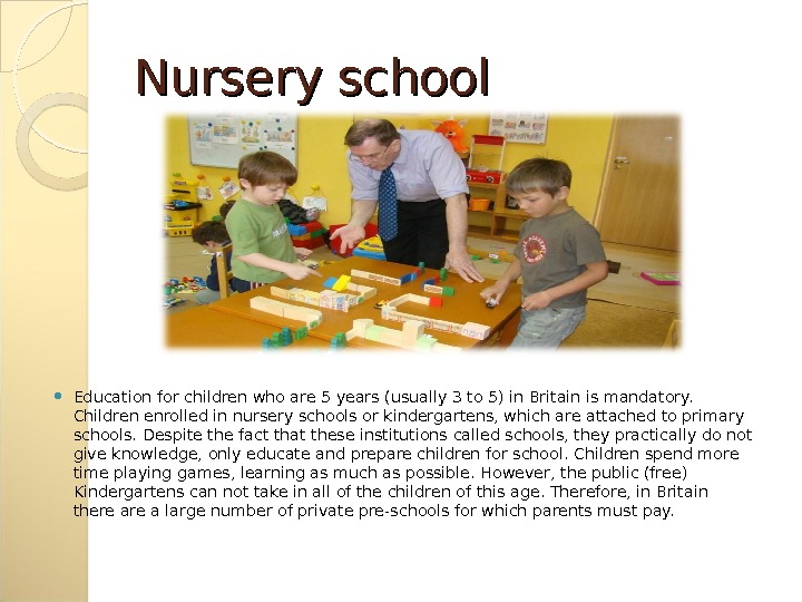 Nursery school Education for children who are 5 years (usually 3 to 5) in Britain is