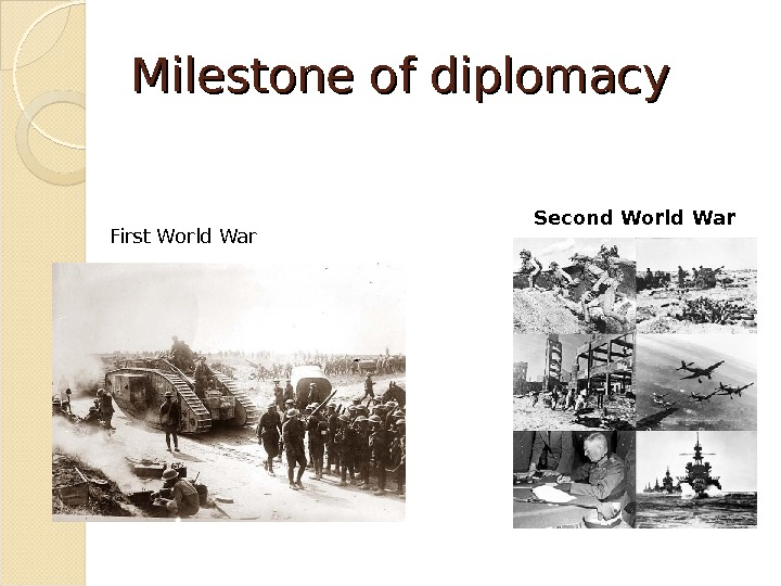 Milestone of of diplomacy First World War Second World War