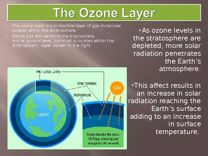 The ozone layer is a protective layer of gas  molecules located within the stratosphere.