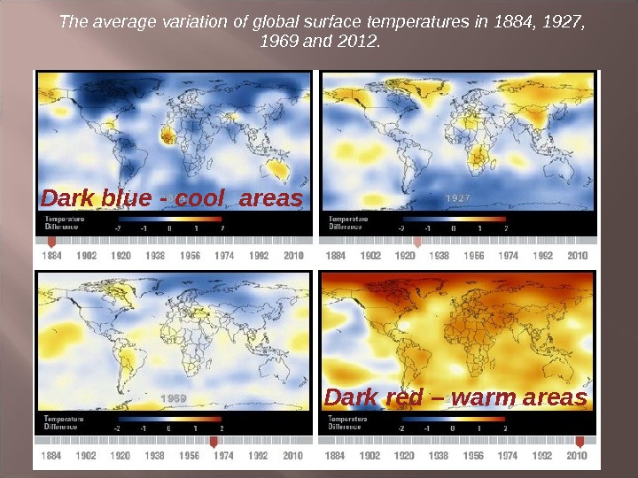 The average variation of global surface temperatures in 1884, 1927,  1969 and 2012.  Dark