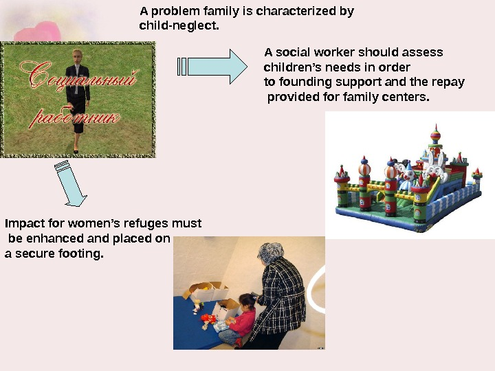 A social worker should assess children's needs in order to founding support and the repay