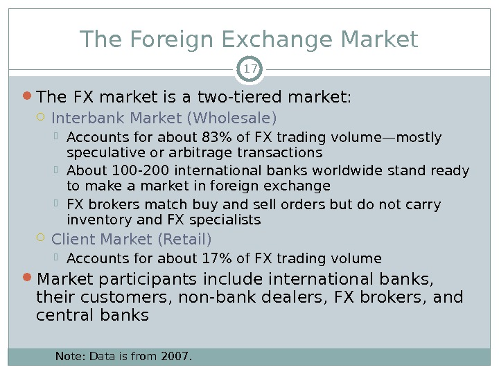The Foreign Exchange Market The FX market is a two-tiered market:  Interbank Market (Wholesale) Accounts