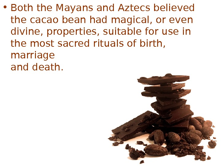 • Both the Mayans and Aztecs believed the cacao bean had magical, or even