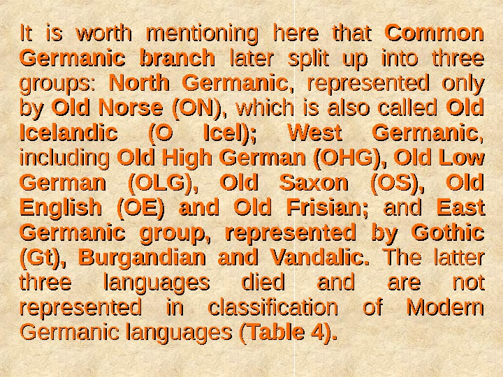 It is worth mentioning here that Common Germanic branch  later split up into three groups: