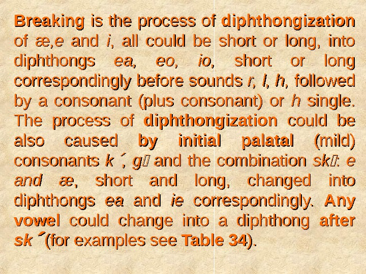 Breaking  is the process of diphthongization  of of ææ , e, e  and
