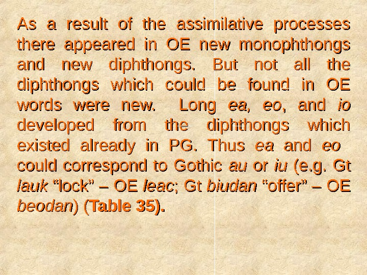 As a result of the assimilative processes there appeared in OE new monophthongs and new diphthongs.