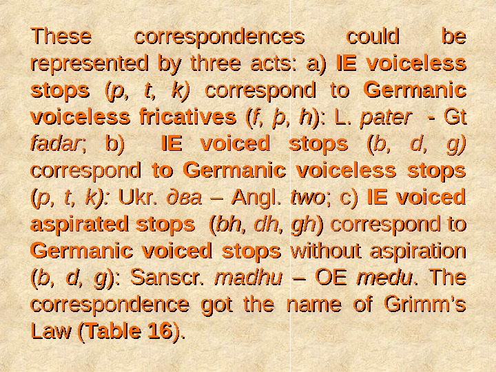These correspondences could be represented by three acts:  a) IE voiceless stops  ( (
